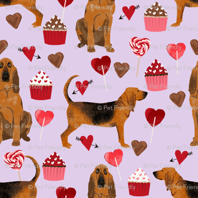 bloodhound valentines cupcakes hearts dog breed fabrics purple