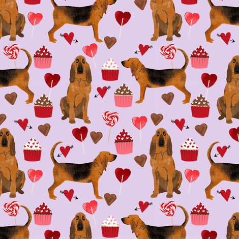bloodhound valentines cupcakes hearts dog breed fabrics purple fabric by petfriendly on Spoonflower - custom fabric