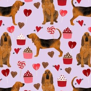 bloodhound valentines cupcakes hearts dog breed fabrics purple