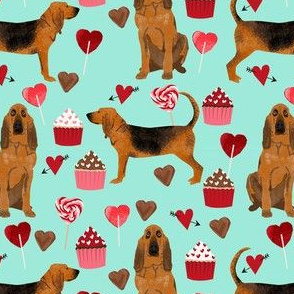 bloodhound valentines cupcakes hearts dog breed fabrics turquoise