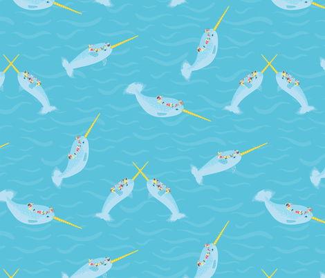 Narwhal Queens fabric by karenlizzie on Spoonflower - custom fabric