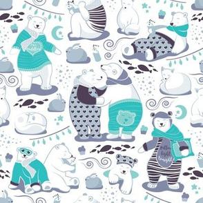 Arctic bear pajamas party II // white background
