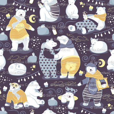 Arctic bear pajamas party III // violet beet background yellow pajamas