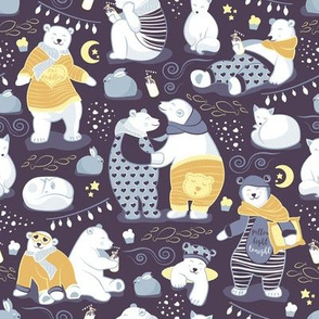 Arctic bear pajamas party III // violet beet background yellow pajamas