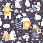 Arctic bear pajamas party III // beet background yellow pajamas