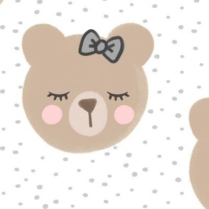(large scale) bears with bows - light grey