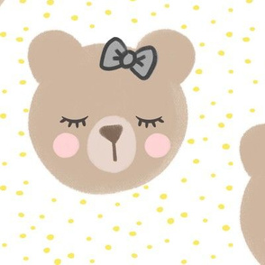 (large scale) bears with bows - yellow and white