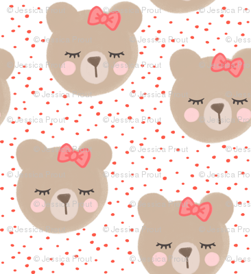 (large scale) bears with bows - red and white