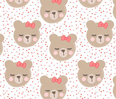 (large scale) bears with bows - red and white fabric by littlearrowdesign on Spoonflower - custom fabric