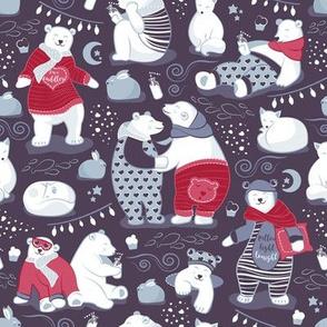 Arctic bear pajamas party IV // violet beet background red pajamas
