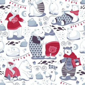 Arctic bear pajamas party V // white background red pajamas