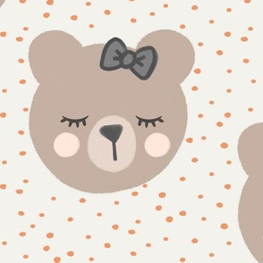 (large scale) bears with bows - cream and peach