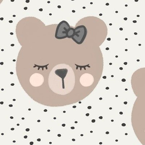 (large scale) bears with bows - cream and grey