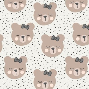 bears with bows - cream and grey