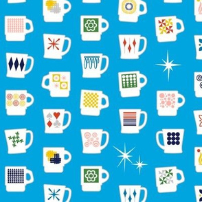 King of Cups* (Sky) || vintage coffee mugs retro kitchen geometric milk glass midcentury modern atomic