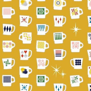 King of Cups* (Gold Marilyn) || vintage coffee mugs retro kitchen geometric milk glass midcentury modern atomic