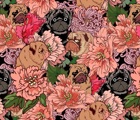 Because  Pugs  fabric by huebucket on Spoonflower - custom fabric