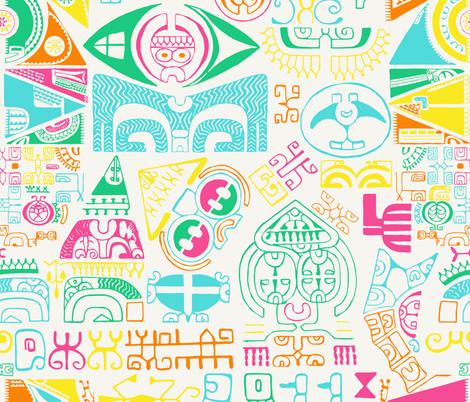 tropical island tattoo  fabric by b0rwear on Spoonflower - custom fabric