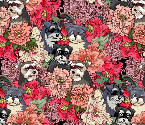 Because Schnauzer fabric by huebucket on Spoonflower - custom fabric