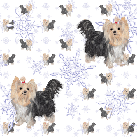 Yorkie Winter Snow 35 Fabric Sherry Savannah Spoonflower