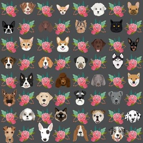 Dogs and Cats heads florals pet lover fabric pattern charcoal and pink