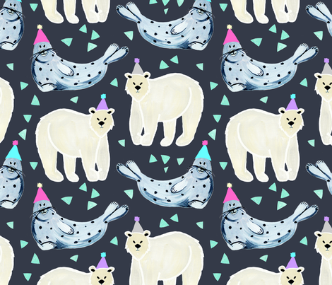 Party in the Arctic fabric by alicemoore on Spoonflower - custom fabric