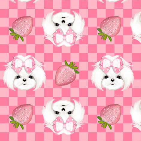 Maltese pink strawberry S fabric by catialee on Spoonflower - custom fabric