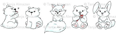 polar animals cartoon style