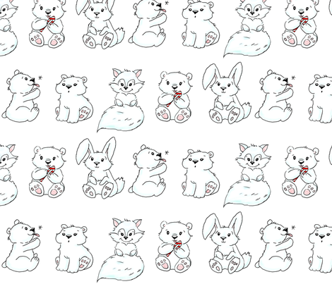 polar animals cartoon style fabric by northspring on Spoonflower - custom fabric