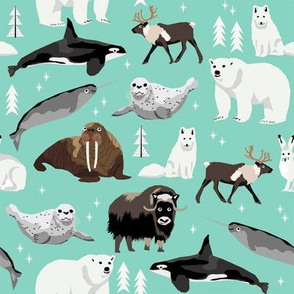 arctic animals narwhal polar bear seal whale nature kids nursery fabric bright mint