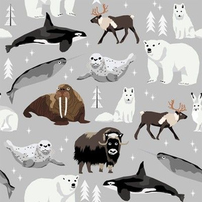 arctic animals narwhal polar bear seal whale nature kids nursery fabric light grey