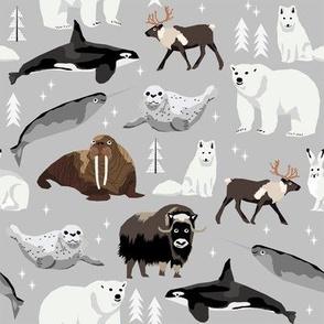 arctic animals narwhal polar bear seal whale nature kids nursery fabric light grey