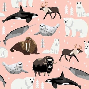 arctic animals narwhal polar bear seal whale nature kids nursery fabric pink