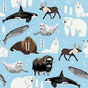 arctic animals narwhal polar bear seal whale nature kids nursery fabric blue