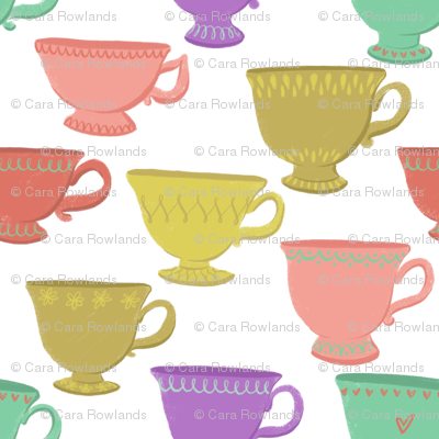 Retro Teacups on White