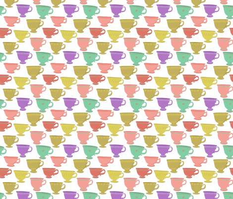 Retro Teacups on White fabric by carabaradesigns on Spoonflower - custom fabric