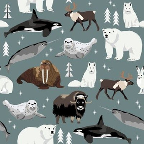 arctic animals narwhal polar bear seal whale nature kids nursery fabric medium green/grey