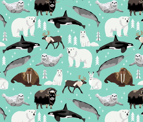 arctic animals narwhal polar bear seal whale nature kids nursery fabric teal fabric by charlottewinter on Spoonflower - custom fabric