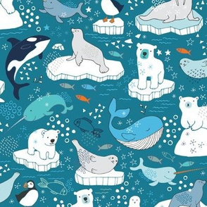 Arctic Animal Icebergs - teal and orange