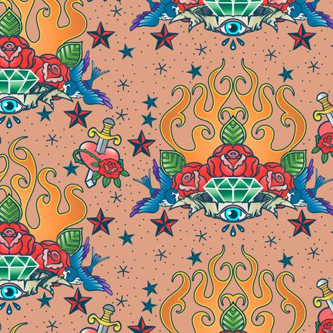 Tattoo Flash fabric by jadegordon on Spoonflower - custom fabric