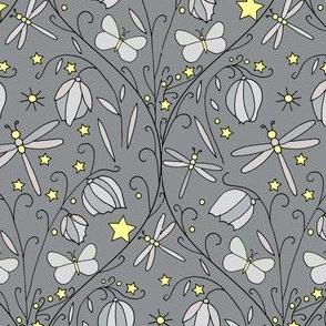 Fairy Lanterns & Dragonflies, Dark Grey