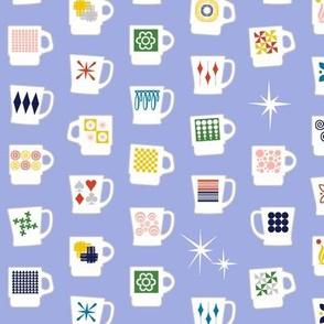 King of Cups* (Ultraviolet) || vintage coffee mugs retro kitchen geometric milk glass midcentury modern atomic