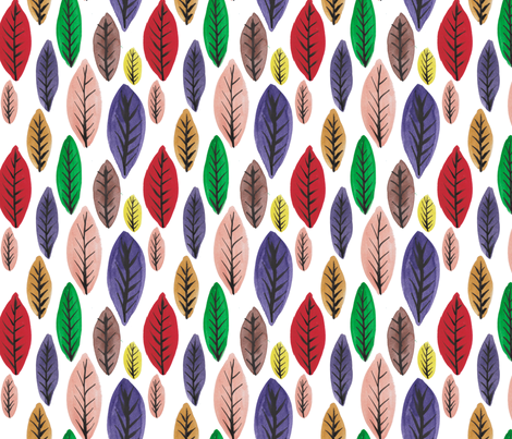 Rainbow Leaves on white fabric by driessa on Spoonflower - custom fabric