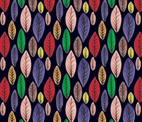 Rainbow Leaves on black fabric by driessa on Spoonflower - custom fabric