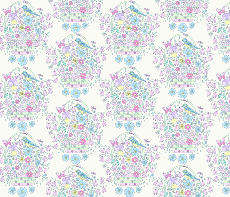 Flower Basket Bird, Vintage fabric by de-ann_black on Spoonflower - custom fabric