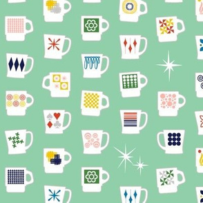 King of Cups* (Green Stamps) || vintage coffee mugs retro kitchen geometric milk glass midcentury modern atomic