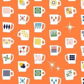 King of Cups* (Valencia) || vintage coffee mugs retro kitchen geometric fire king milk glass midcentury modern atomic orange