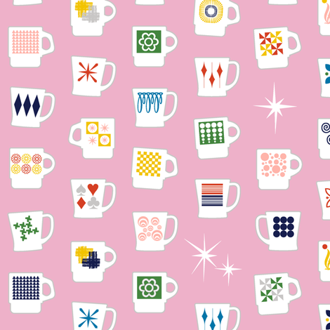 King of Cups* (Pink Cow) || vintage coffee mugs retro kitchen geometric fire king milk glass midcentury modern atomic fabric by pennycandy on Spoonflower - custom fabric