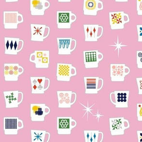 King of Cups* (Pink Cow) || vintage coffee mugs retro kitchen geometric fire king milk glass midcentury modern atomic