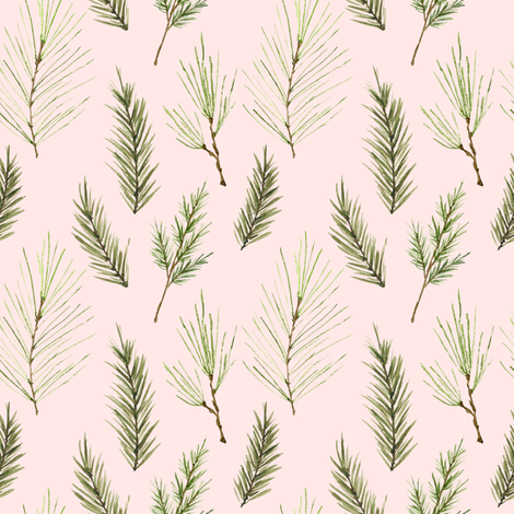 Holiday Pines Pink fabric by mintpeony on Spoonflower - custom fabric
